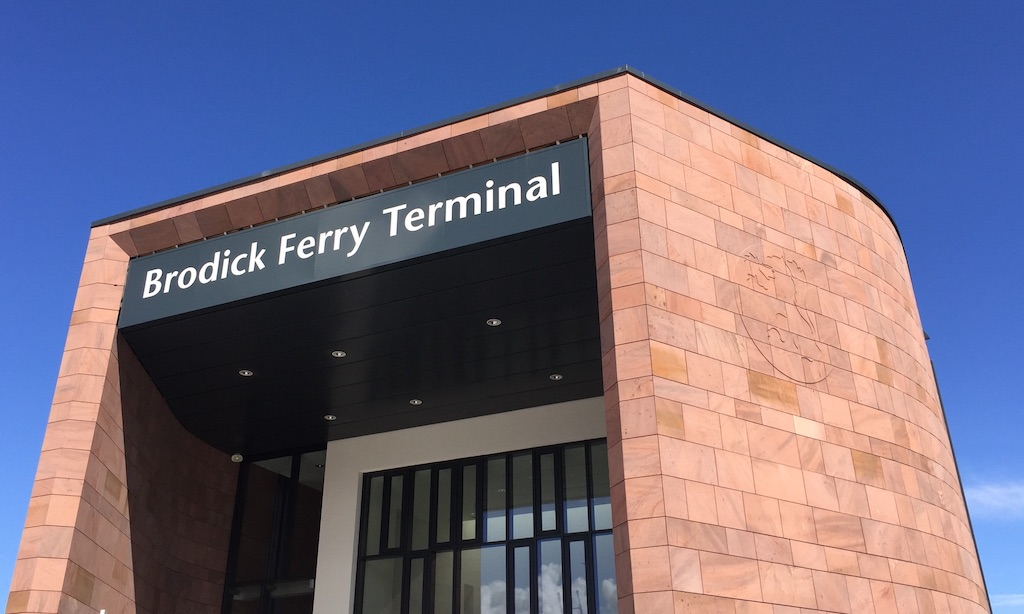 The facade of Brodick's new ferry terminal. Horrendous monstrosity or fit for 21st century?