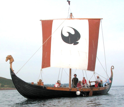 "Arran Vikings' ""Black Eagle"" longship under sail."