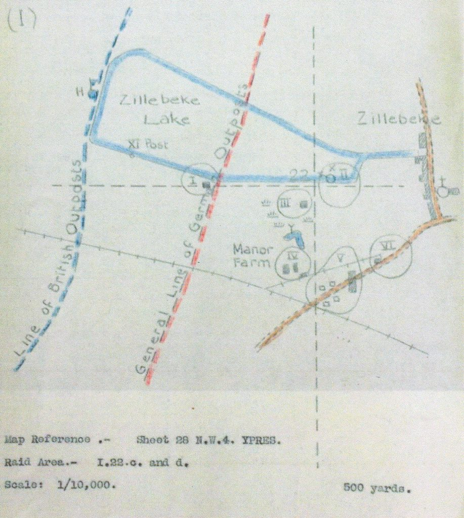 Plan for the raid on Manor Farm 20 June 1918.