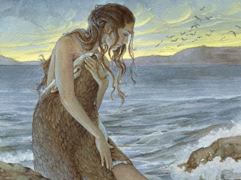 A Selkie holding her sea-skin.